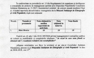 Rezultatul final al evaluarii anuale a managementului la Muzeul Județean de Etnografie și Artă Populară