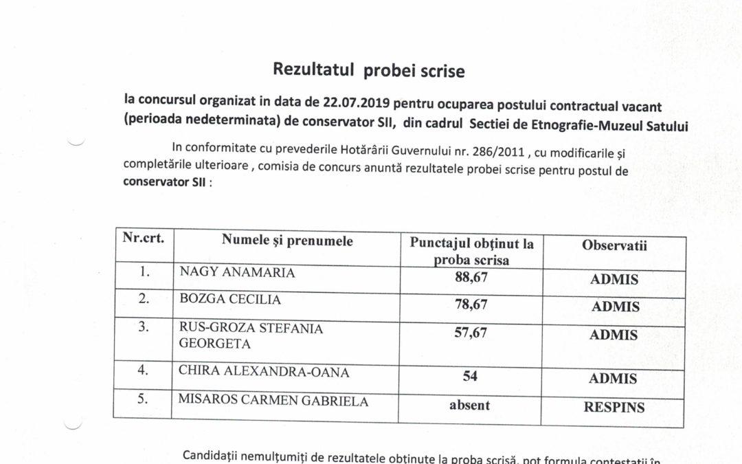 Rezultatul probei scrise la concursul organizat în data de 22.07.2019 – Conservator SII