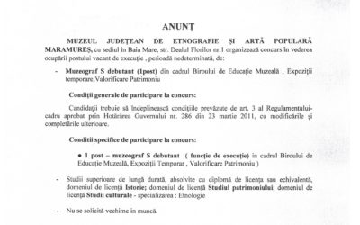 Anunț concurs post vacant Muzeograf S debutant