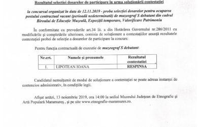 Rezultatul selecției dosarelor în urma soluționării contestației – Muzeograf S debutant
