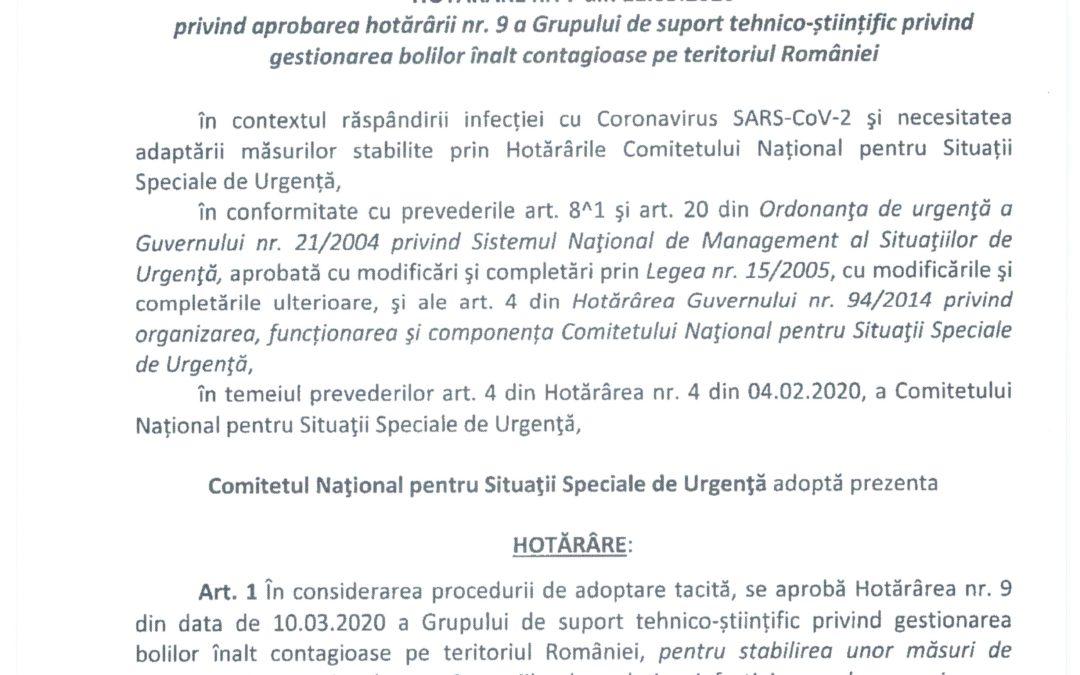 Anunț – Hotărâre CNSSU nr. 7 din 11.03.2020