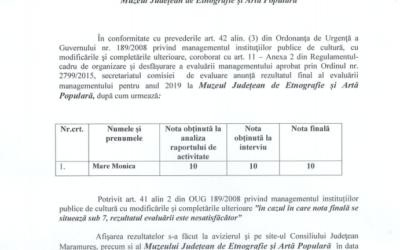 Rezultatul final al evaluării anuale a managementului la MJEAP