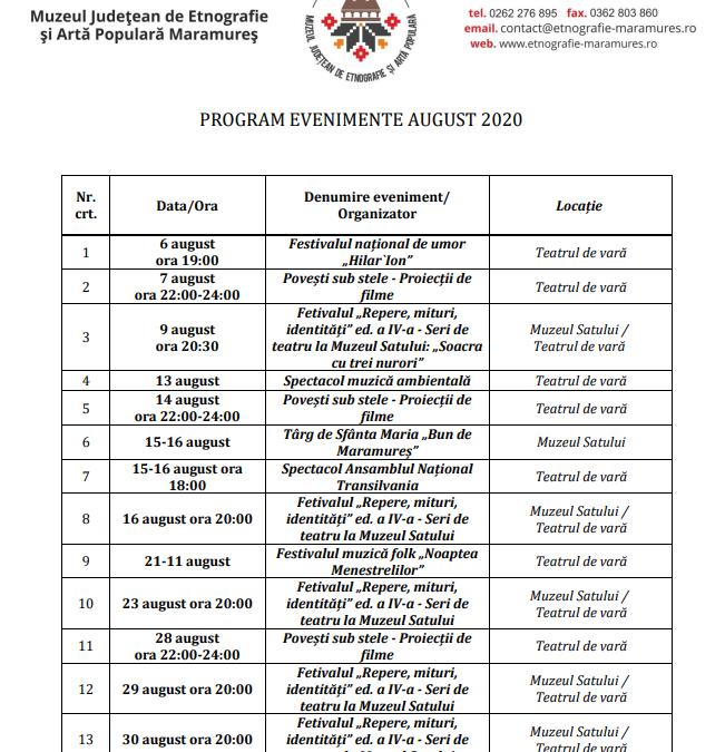 Program evenimente luna AUGUST 2020