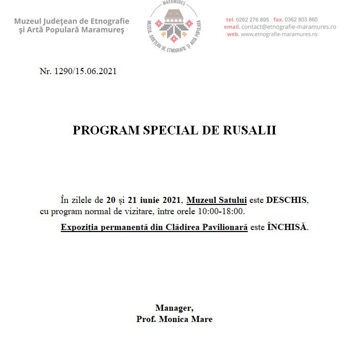 Program de Rusalii